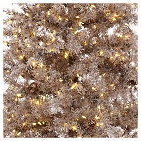Árbol de Navidad marrón antiguo 200 cm escarchado con piñas y 300 luces LED s2