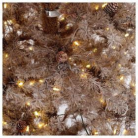 Árbol de Navidad marrón antiguo 200 cm escarchado con piñas y 300 luces LED s4