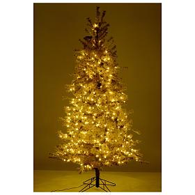 Árbol de Navidad marrón antiguo 200 cm escarchado con piñas y 300 luces LED s5