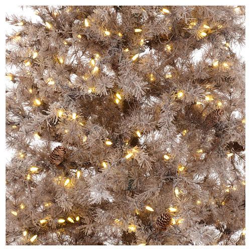 Árbol de Navidad marrón antiguo 200 cm escarchado con piñas y 300 luces LED 2