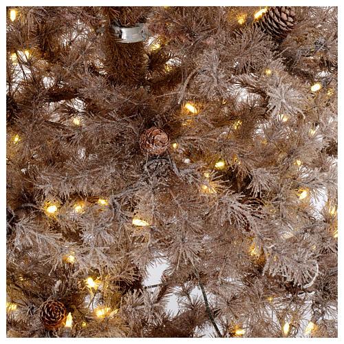 Árbol de Navidad marrón antiguo 200 cm escarchado con piñas y 300 luces LED 4