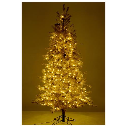 Árbol de Navidad marrón antiguo 200 cm escarchado con piñas y 300 luces LED 5
