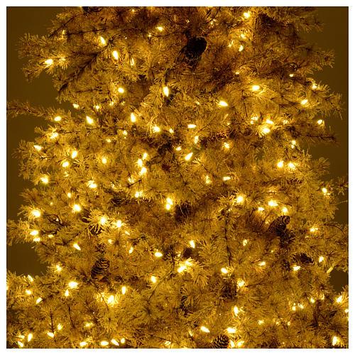Árbol de Navidad marrón antiguo 200 cm escarchado con piñas y 300 luces LED 6