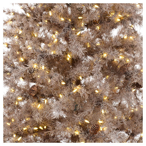 Albero di Natale marrone antico 200 cm brinato e pigne 300 led 2