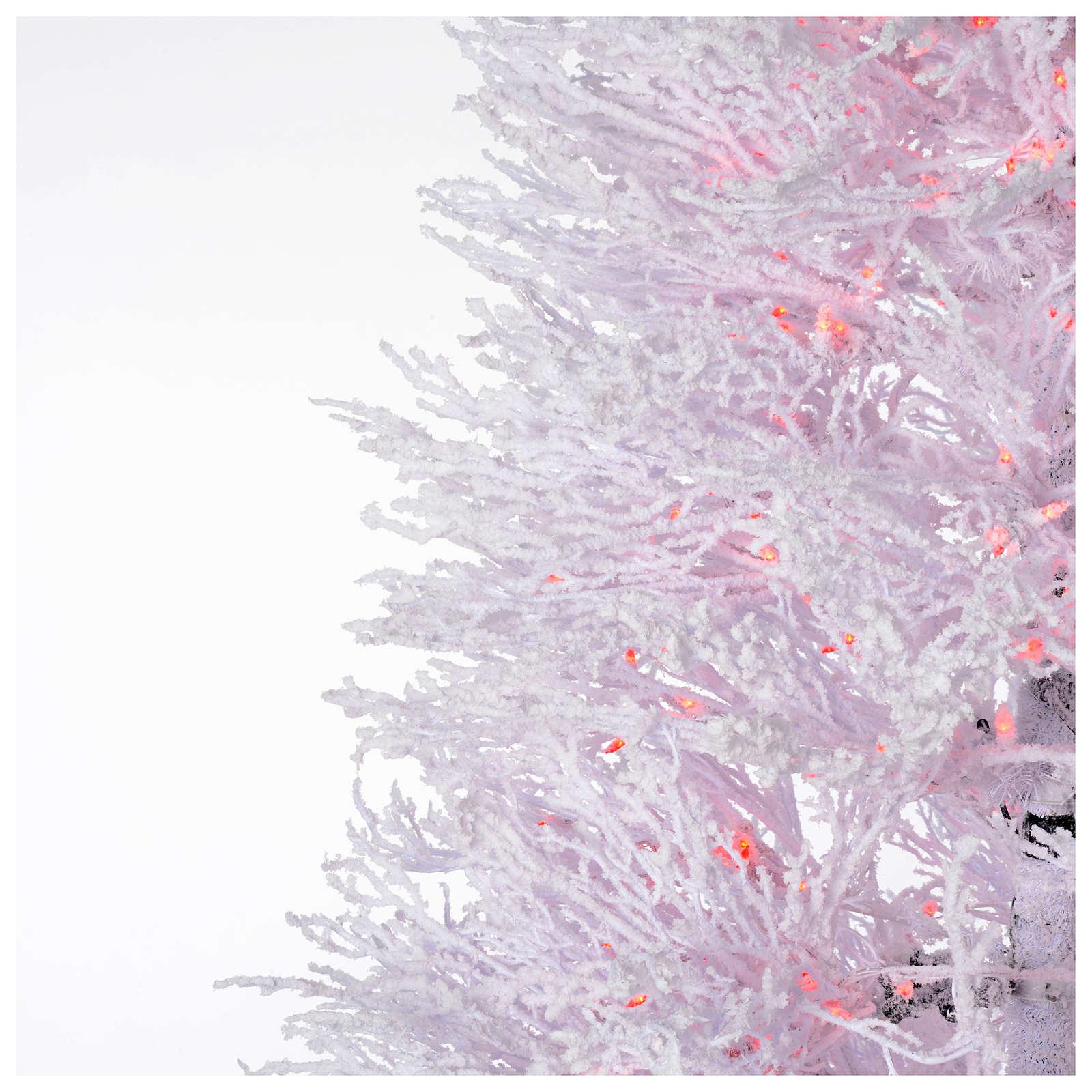 Albero di Natale innevato bianco 210 cm cm luci rosse led 700 Winter G. 3