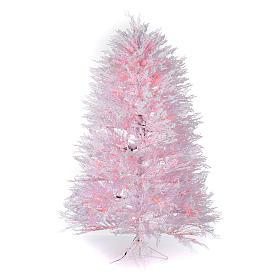 Albero di Natale innevato bianco 210 cm cm luci rosse led 700 Winter G. s1