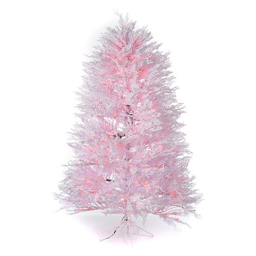 Albero di Natale innevato bianco 210 cm cm luci rosse led 700 Winter G. 1