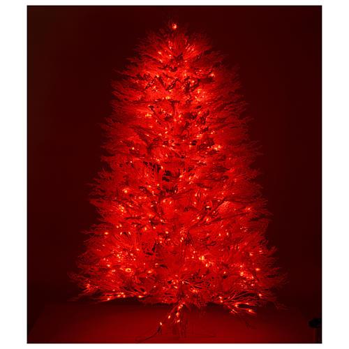 Albero di Natale innevato bianco 210 cm cm luci rosse led 700 Winter G. 5