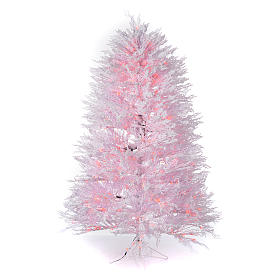 Árvores de Natal: Árvore de Natal nevado branco 210 cm luzes vermelhas 700 Led