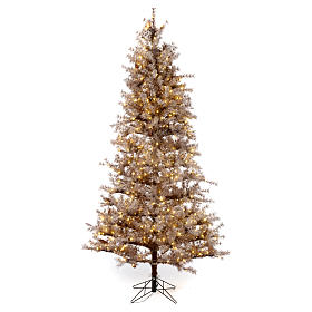 Sapin Noël marron 270 cm givré pommes pin lumières 700 Victorian Brown s1