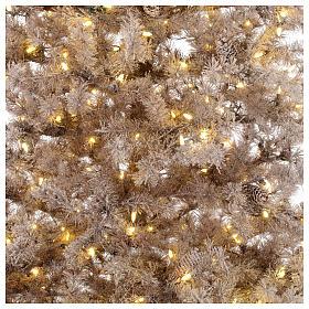 Sapin Noël marron 270 cm givré pommes pin lumières 700 Victorian Brown s2