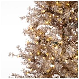 Sapin Noël marron 270 cm givré pommes pin lumières 700 Victorian Brown s3