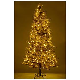Sapin Noël marron 270 cm givré pommes pin lumières 700 Victorian Brown s5