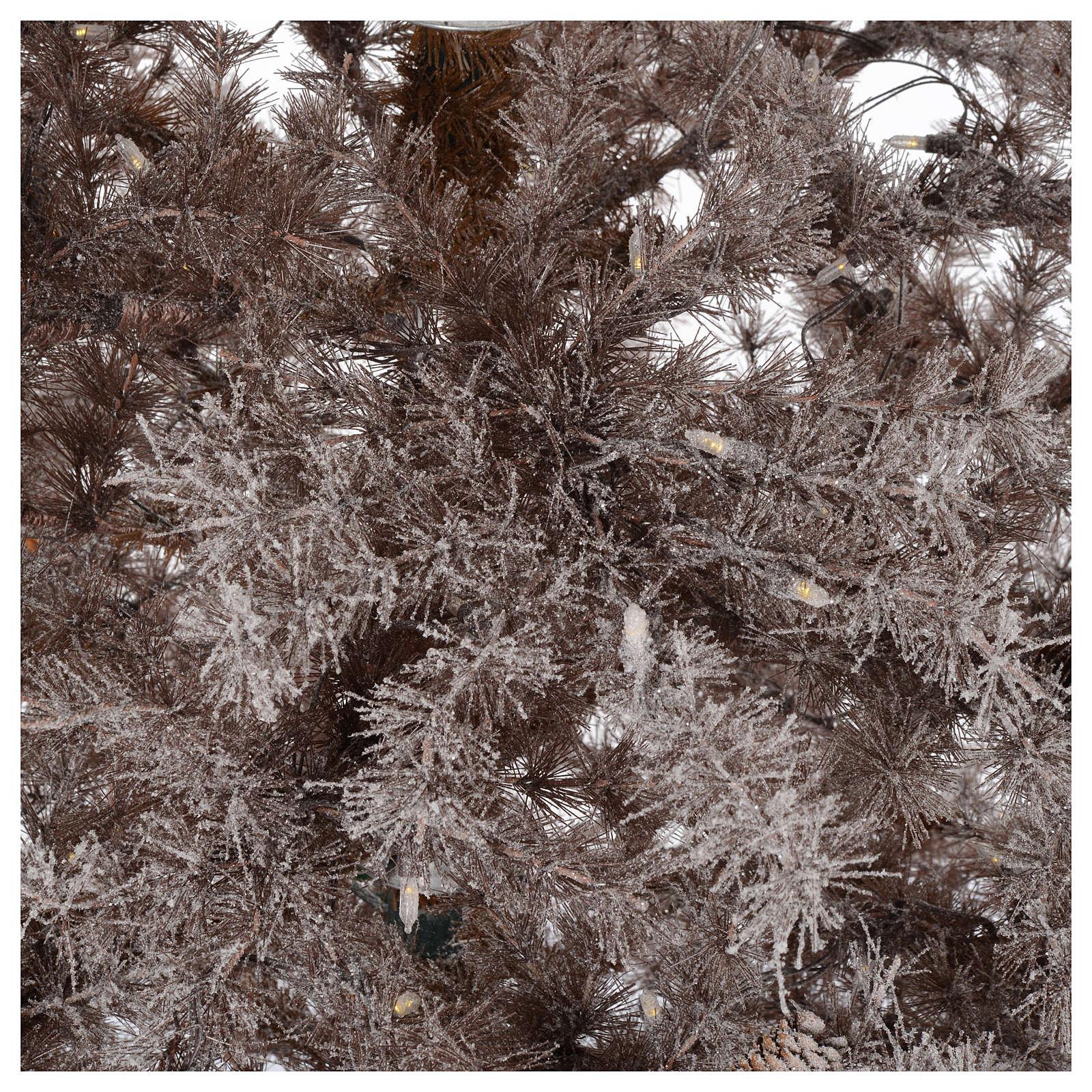 Albero di Natale marrone 270 cm brinato pigne e luci led 700 3