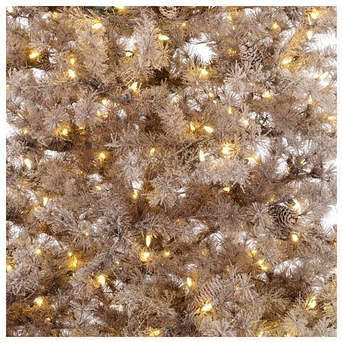 Albero di Natale marrone 270 cm brinato pigne e luci led 700 Victorian B. 2
