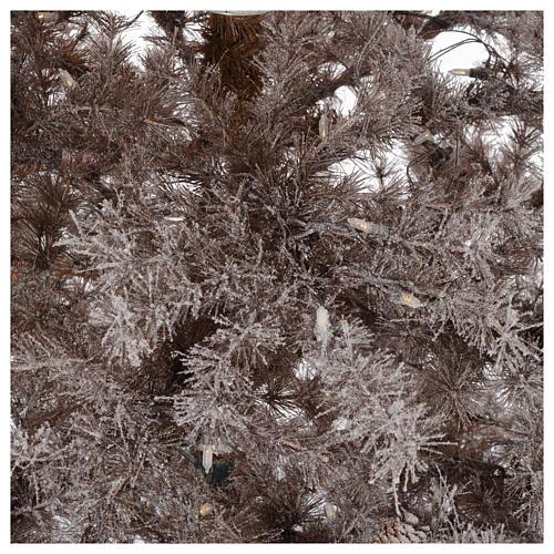 Albero di Natale marrone 270 cm brinato pigne e luci led 700 4