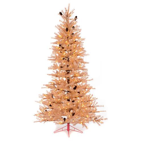Árbol de Navidad rosa antiguo 230 cm piñas 400 luces LED 1