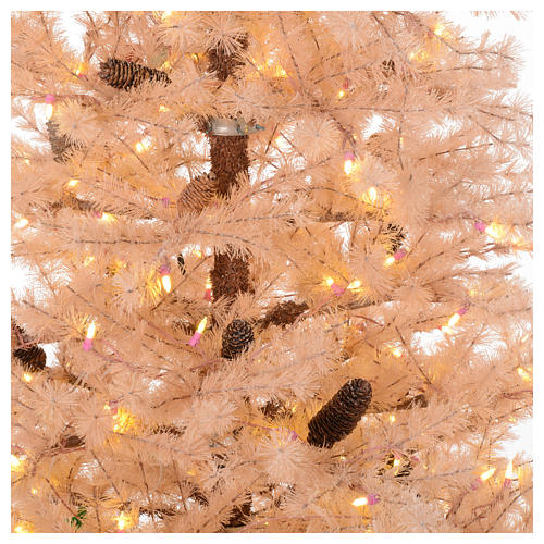 Árbol de Navidad rosa antiguo 230 cm piñas 400 luces LED 2