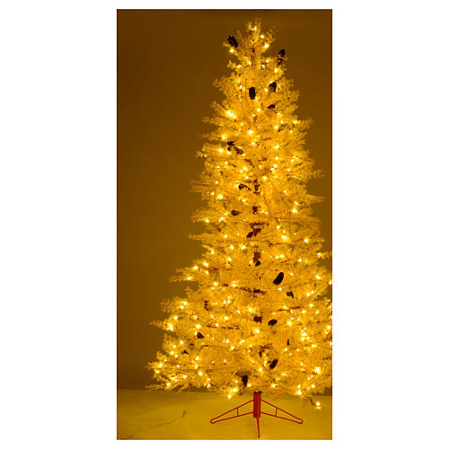 Árbol de Navidad rosa antiguo 230 cm piñas 400 luces LED 5