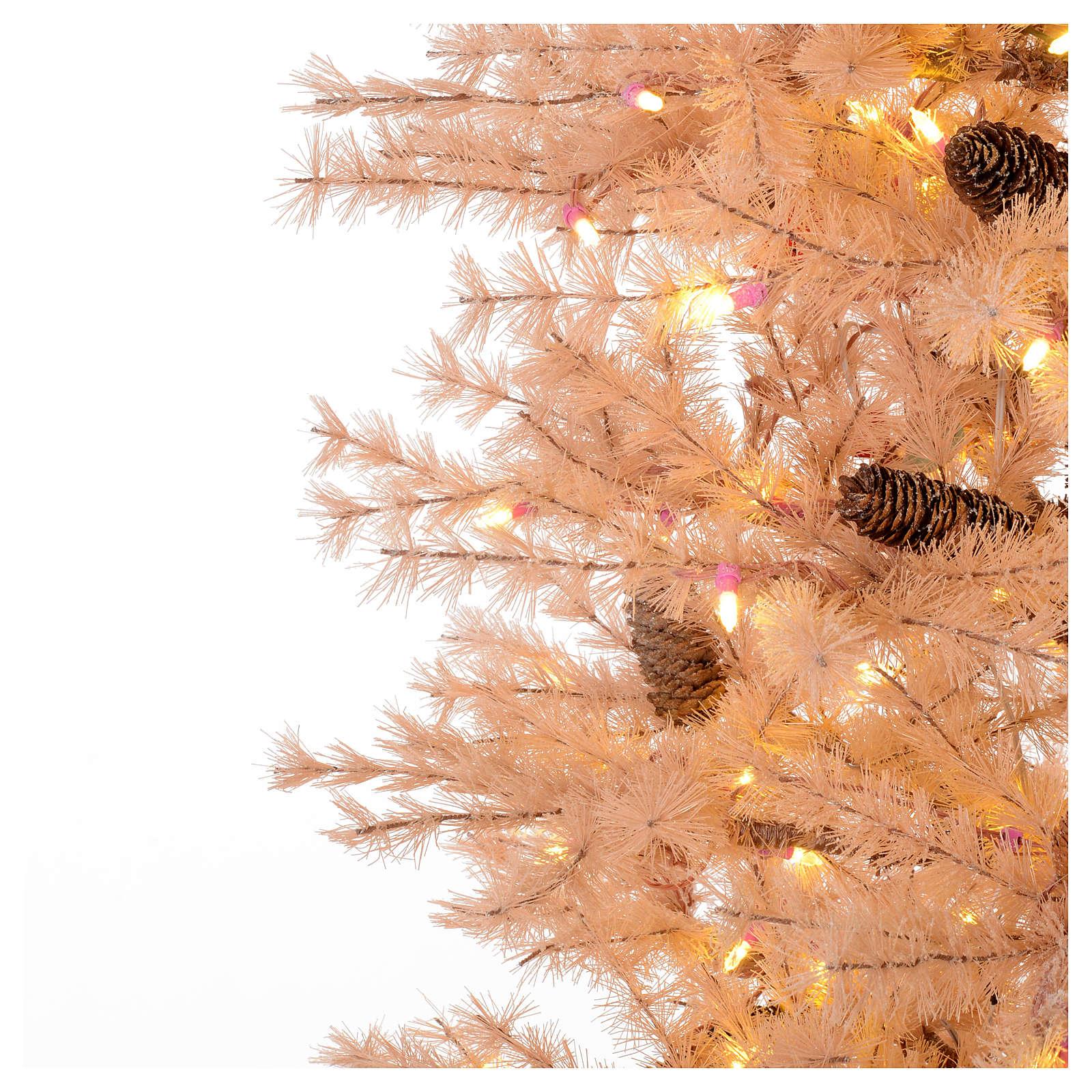 Albero di Natale rosa antico 230 cm pigne 400 luci led 3