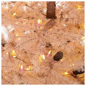 Albero di Natale rosa antico 230 cm pigne 400 luci led s4