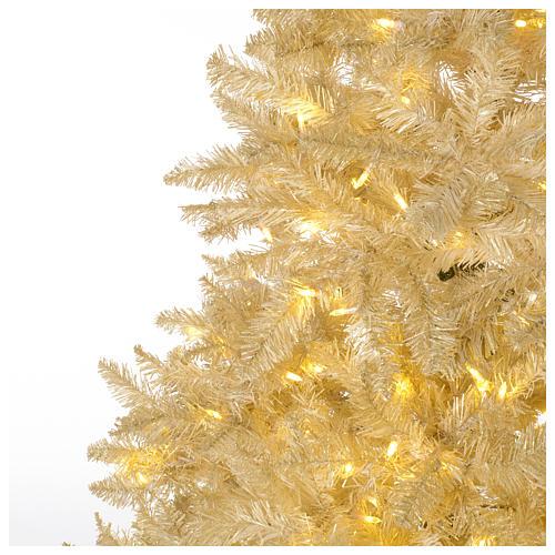 Albero di Natale 340 cm avorio 1600 luci led glitter oro 3