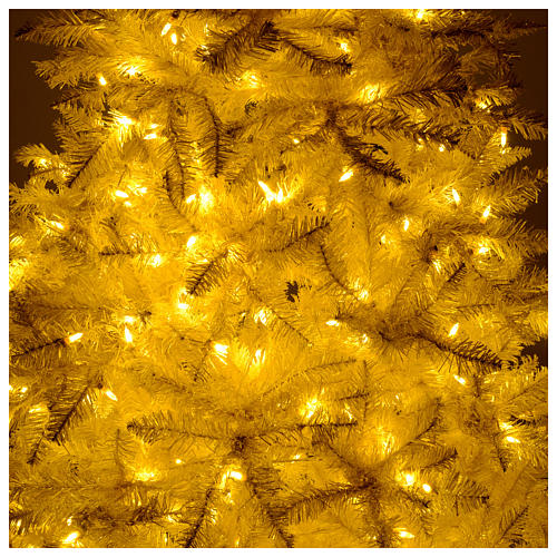 Albero di Natale 340 cm avorio 1600 luci led glitter oro 6