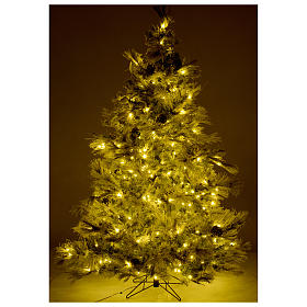 Árbol de Navidad marrón 230 cm escarchado piñas y purpurina 450 luces LED modelo Frosted Forest s5