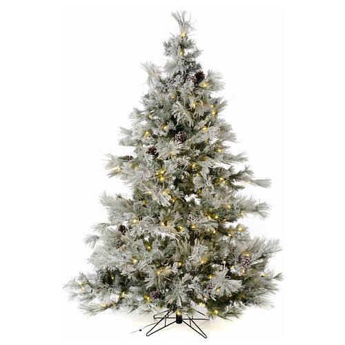 Árbol de Navidad marrón 230 cm escarchado piñas y purpurina 450 luces LED modelo Frosted Forest 1