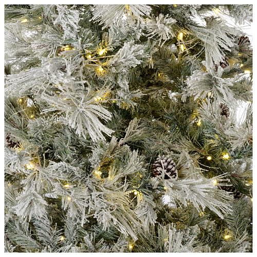 Árbol de Navidad marrón 230 cm escarchado piñas y purpurina 450 luces LED modelo Frosted Forest 2