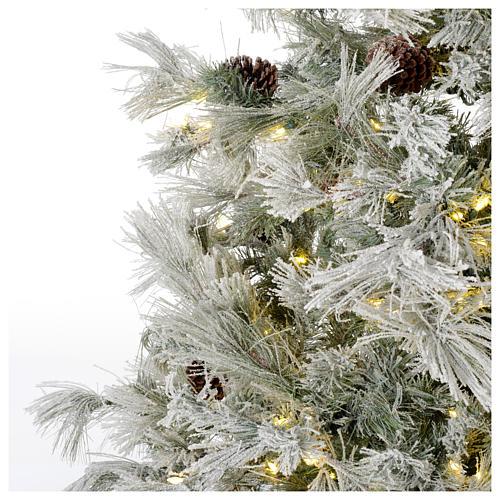 Árbol de Navidad marrón 230 cm escarchado piñas y purpurina 450 luces LED modelo Frosted Forest 3