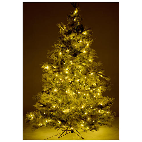 Árbol de Navidad marrón 230 cm escarchado piñas y purpurina 450 luces LED modelo Frosted Forest 5