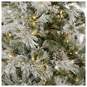 Albero di Natale 230 cm brinato pigne e brillantini 450 luci led Frosted Forest s2