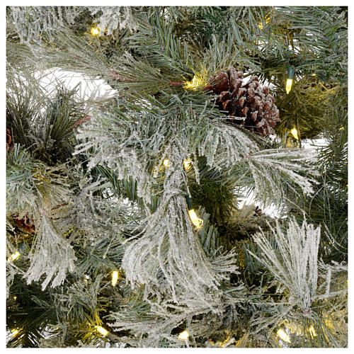 Albero di Natale 230 cm brinato pigne e brillantini 450 luci led Frosted Forest 4