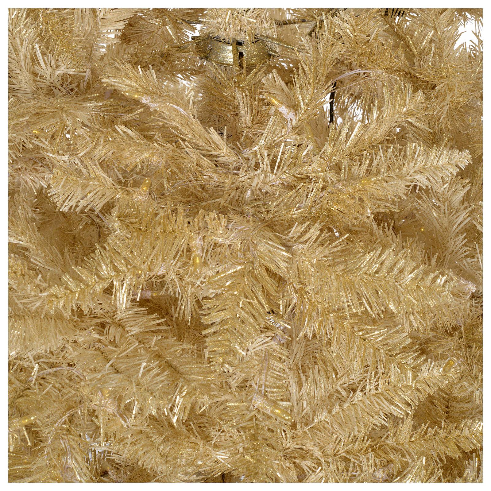 Árvore Natal 200 cm cor de marfim 400 luzes Led glitter ouro Regal Ivory 3