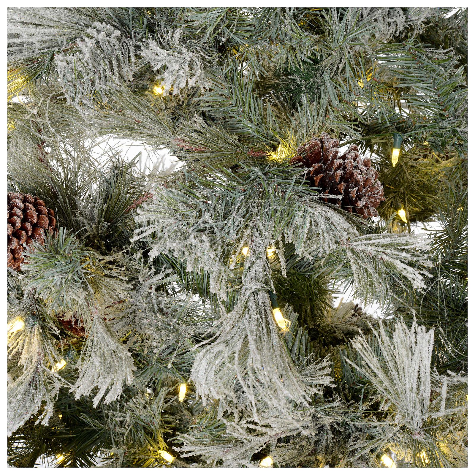Árbol de Navidad 270 cm escarchado con piñas y purpurina 700 luces LED 3