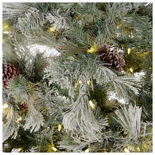 Árbol de Navidad 270 cm escarchado con piñas y purpurina 700 luces LED 4