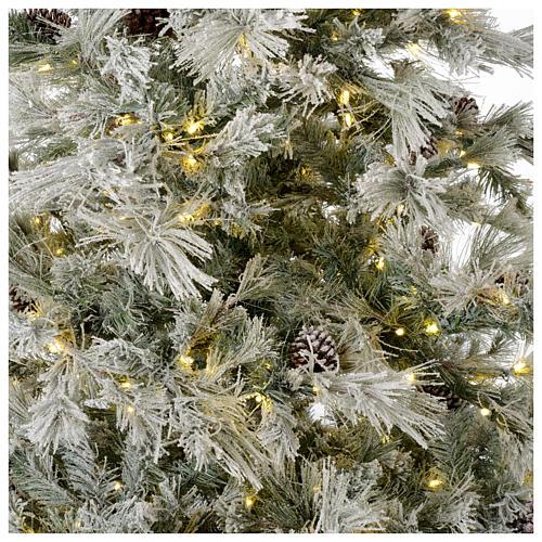 Albero di Natale 270 cm brinato pigne e brillantini 700 luci led 2