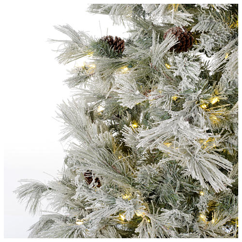 Albero di Natale 270 cm brinato pigne e brillantini 700 luci led 3