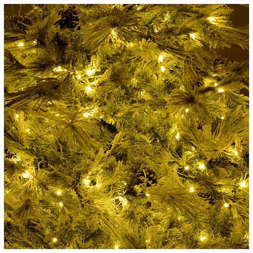 Albero di Natale 270 cm brinato pigne e brillantini 700 luci led 6