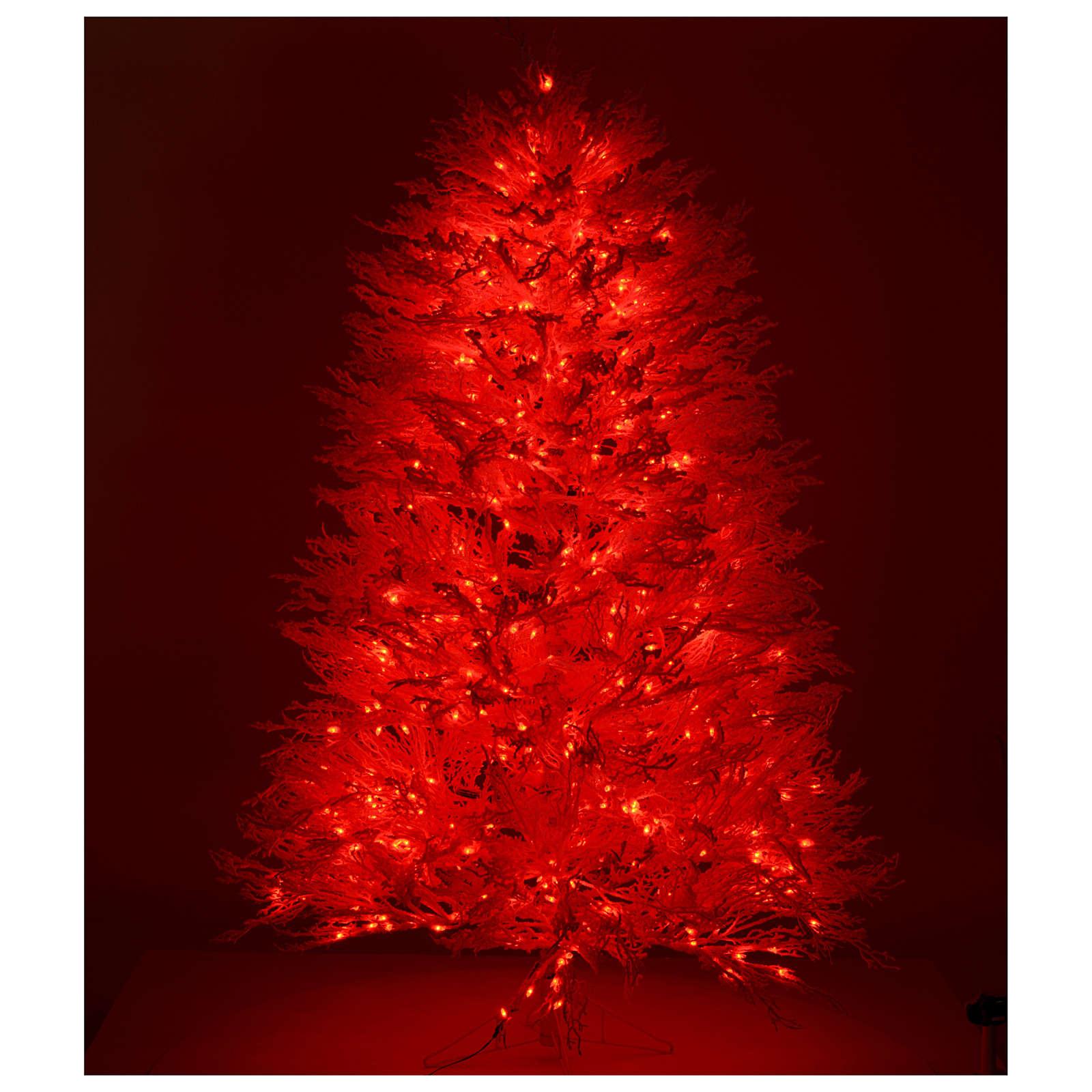 árbol De Navidad Con Nieve Blanco 270 Cm Luces Rojas Led Venta