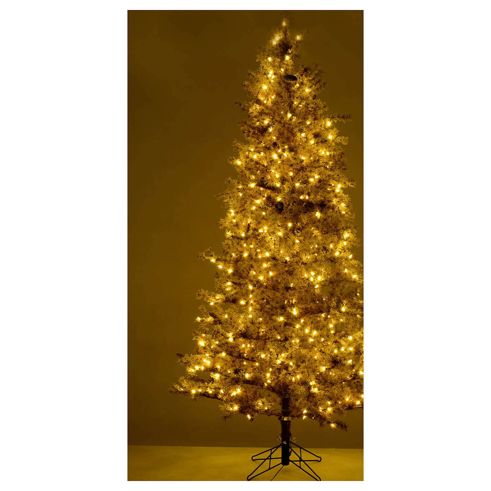 Christmas tree brown 230 cm covered with frost, pinecones and 400 led lights 3