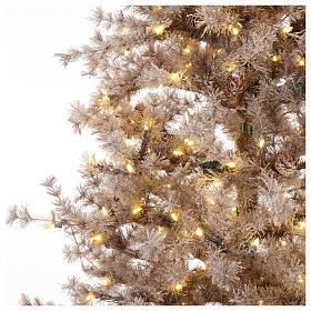 Christmas tree brown 230 cm covered with frost, pinecones and 400 led lights s3