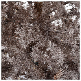 Christmas tree brown 230 cm covered with frost, pinecones and 400 led lights s4