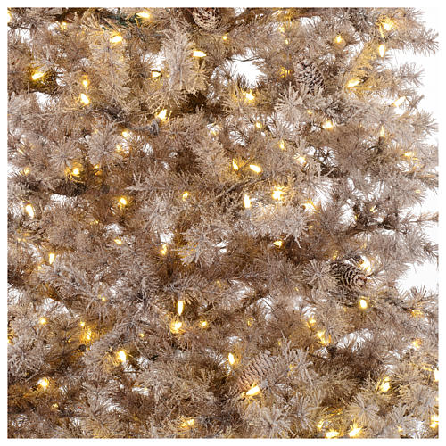 Christmas tree brown 230 cm covered with frost, pinecones and 400 led lights 2