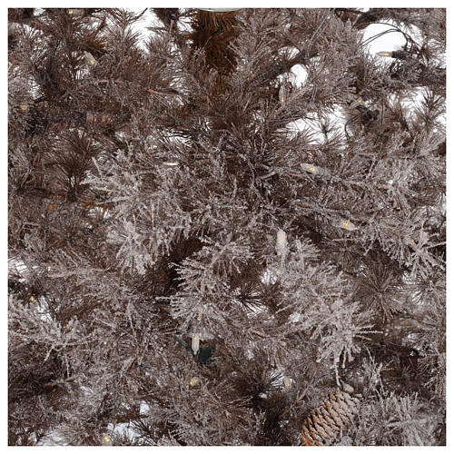 Christmas tree brown 230 cm covered with frost, pinecones and 400 led lights 4