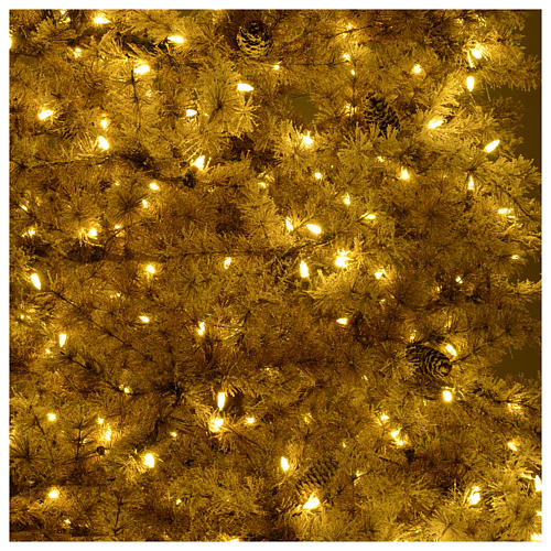 Christmas tree brown 230 cm covered with frost, pinecones and 400 led lights 6