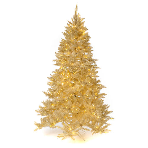 Christmas tree ivory 270 cm with gold glitter and 800 lights 1