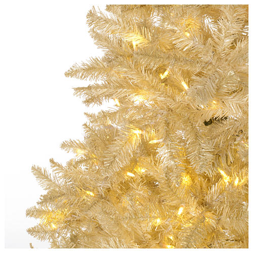 Christmas tree ivory 270 cm with gold glitter and 800 lights 3