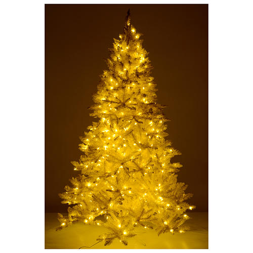 Christmas tree ivory 270 cm with gold glitter and 800 lights 5